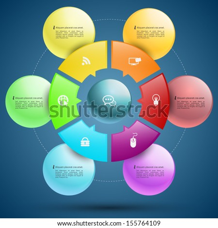 Sphere circle business concepts with icons / can use for infographic/loop business report or plan / modern template / education template / business brochure / system diagram  - stock vector