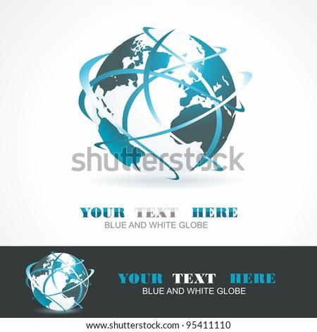 Sphere 3d design. Vector symbol. Globe blue anr white. - stock vector