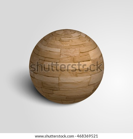 Sphere from a stone. Stone sphere. The texture of the stone. Vector illustration