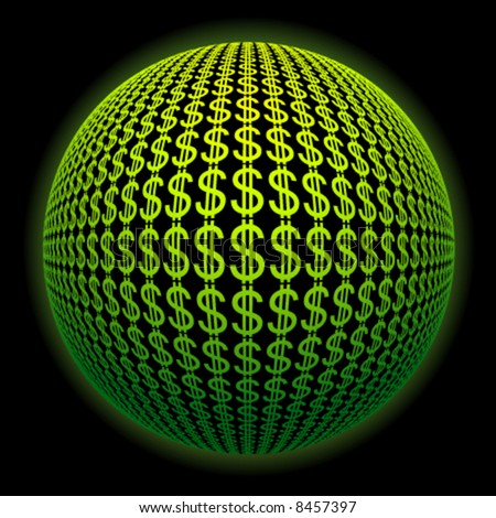 sphere from dollar symbols - stock vector