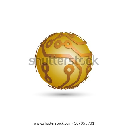 sphere from the electronic scheme - stock vector