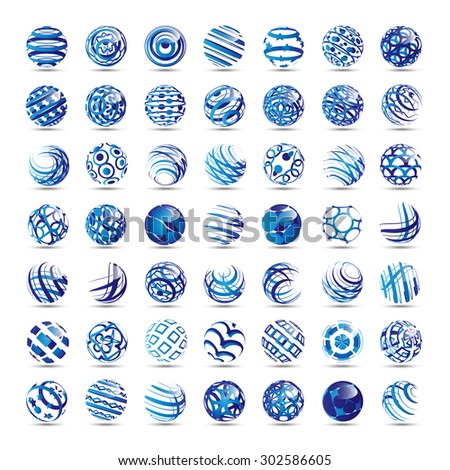 Sphere Icons Set - Isolated On White Background - Vector Illustration, Graphic Design Editable For Your Design  - stock vector