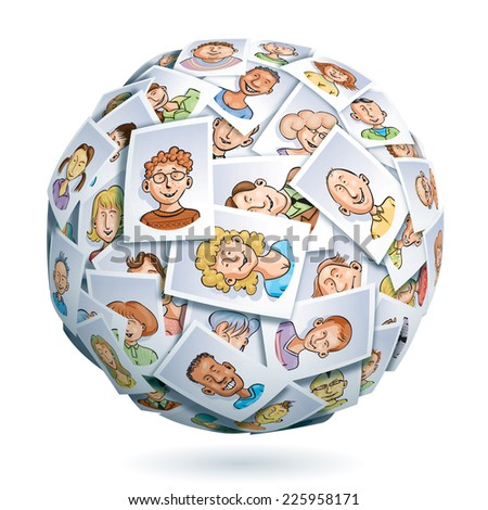 Sphere made of portraits of smiling multi-ethnic young people. Eps10. Transparency used. CMYK. Global colors. Gradients used. - stock vector