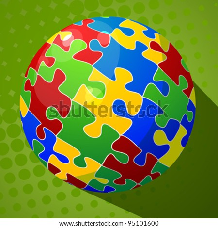 Sphere puzzle background, abstract art.