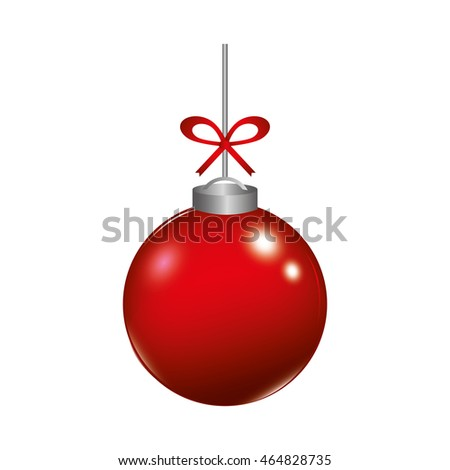 sphere red ball merry christmas celebration icon. Isolated and flat illustration. Vector graphic