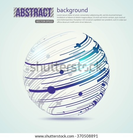 Sphere technological, science background. Abstract  Sphere with connected lines and dots. Vector EPS 10.  - stock vector