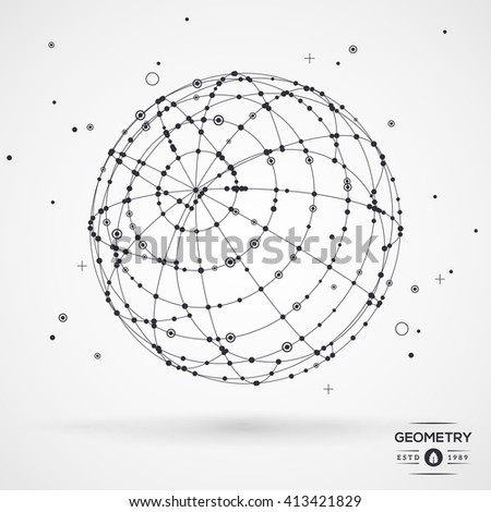 Sphere wireframe mesh with connected lines and dots. Connection Structure. Geometric Modern Technology Concept. Digital Data Visualization. Globe matrix rotation. Vector illustration. - stock vector
