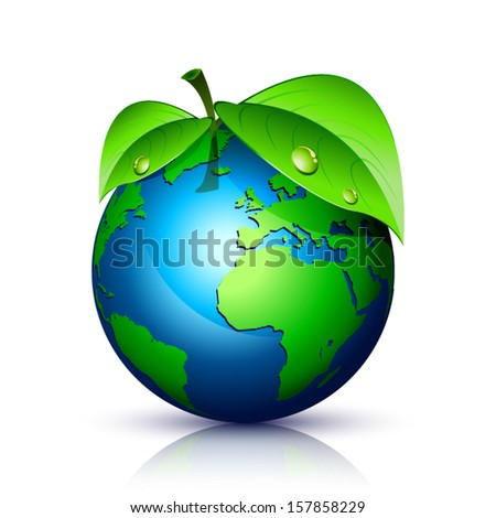 sphere with blue world map accompanied by green leaves and reflection - stock vector