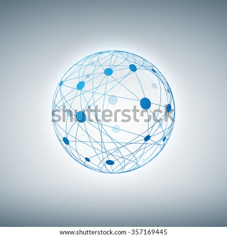 Sphere with connected dots and lines. Layered vector illustration. - stock vector