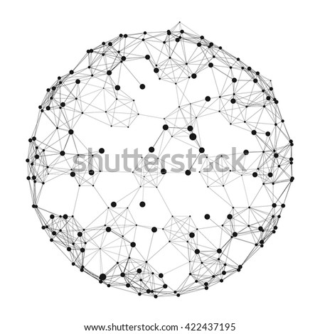 Sphere with Connected Lines and Dots. Global Digital Connections. Wireframe Illustration. Abstract 3D Grid Design. Technology Style. Networks. - stock vector