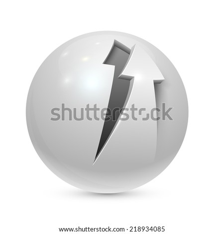 Sphere with peeled arrow icon isolated on white background. - stock vector