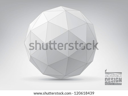 Sphere with triangular faces, you can change colors - stock vector
