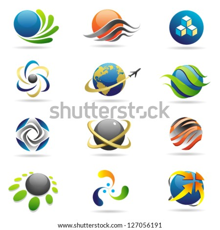 Spheres and Globe Web Icon Vector Colored Set. Graphic Design Editable For Your Design. - stock vector