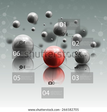 Spheres in motion on gray background. Red sphere with infographic elements for business or science report, abstract molecular geometric pattern vector illustration. - stock vector