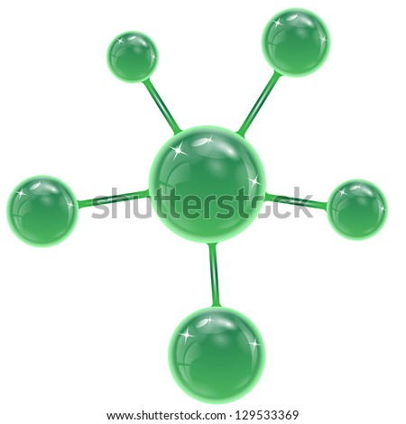 spheres of green  color on a white background