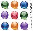 Spherical Alphabet Globe Icon Symbol Collection Letters S through Z - stock photo