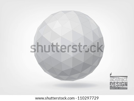 Spherical shape from triangles, you can change colors - stock vector
