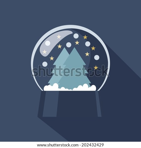 Spherical Snow Globe icon depicting Christmas and New Year with sparkling snowflakes suspended above forest trees on a cold blue winter background - stock vector