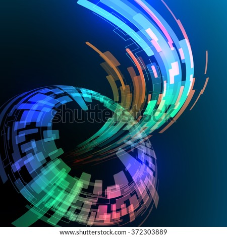 spherical surface, and ray of light, abstract image, vector illustration - stock vector