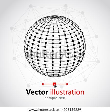 Spherical wireframe. Vector illustration. - stock vector