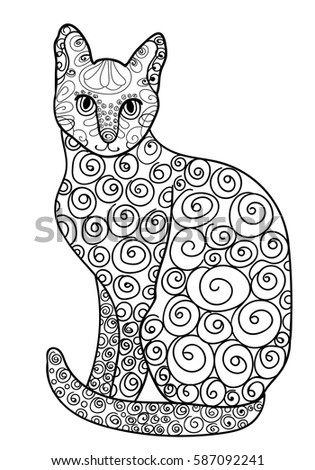 Sphinx Egypt Beautiful Kitten Vector Illustration Doodle Coloring Book For Adults