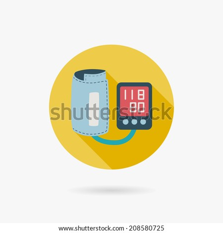 sphygmomanometer blood pressure flat icon with long shadow - stock vector