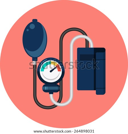 Sphygmomanometer Flat Icon - stock vector