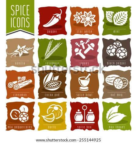 Spice icon set - 2 - stock vector