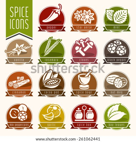 Spice icon set - stock vector