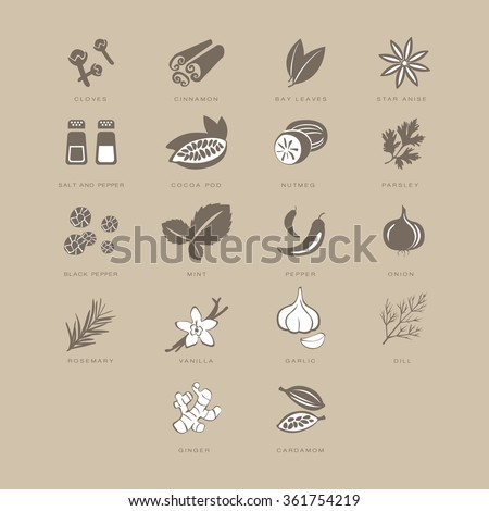 Spices Set, Vector Illustration Collection pastel shades of beige - stock vector