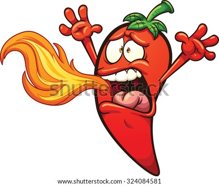 Spicy chili Pepper breathing fire. Vector clip art illustration with simple gradients. Pepper and fire on separate layers. - stock vector