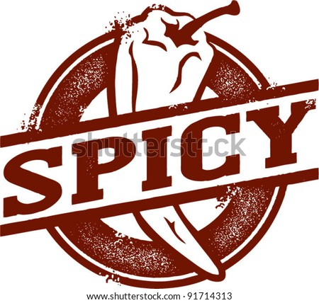 Spicy Chili Pepper Stamp - stock vector