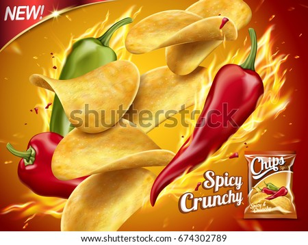 Spicy potato chips ad, chips with burning chillies in 3d illustration