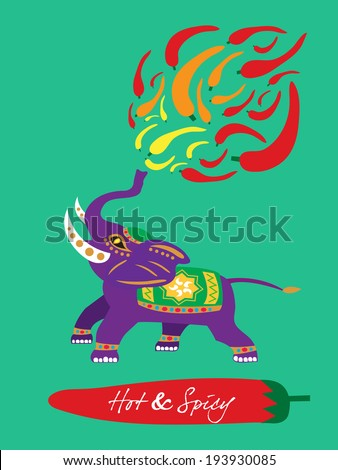 spicy restaurant theme template set � fire elephant  - stock vector