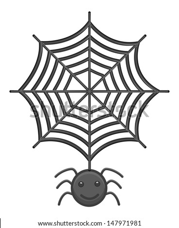 Spider and Web Cartoon Vector - stock vector