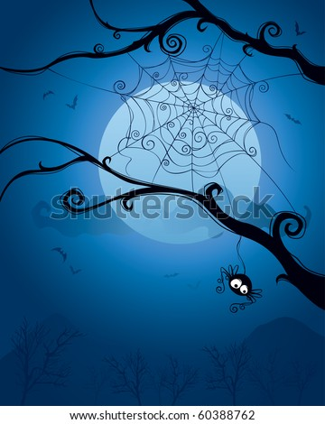 Spider hanging on tree on Halloween night.  Blank space below for design and text. - stock vector