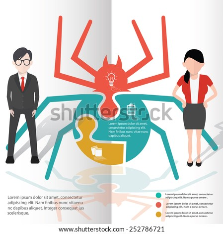 Spider puzzle info graphic design and character,clean vector - stock vector