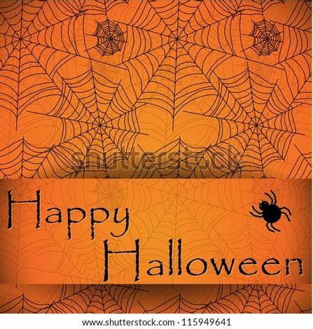 Spider's web. Orange vector pattern for halloween - stock vector