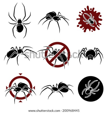 Spider set. Vector - stock vector