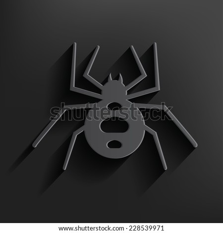 Spider symbol on black background,clean vector - stock vector