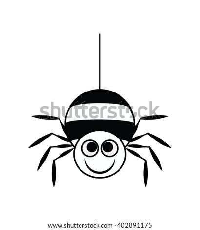 spider vector, cute spider cartoon - stock vector