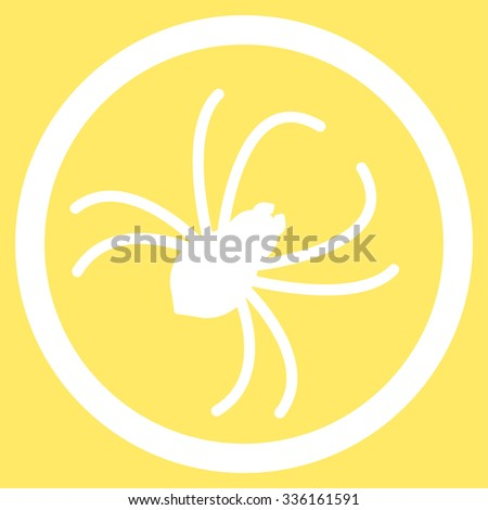 Spider vector icon. Style is flat symbol, white color, rounded angles, yellow background.