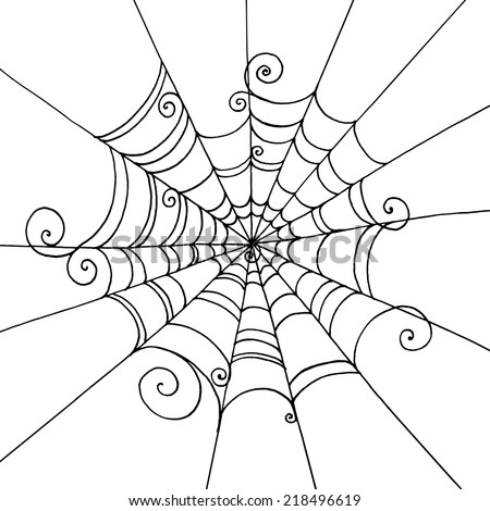 Spider Web hand-drawn on  isolated white background. Background for greeting card Halloween - stock vector