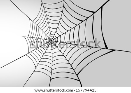 Spider web in perspective - stock vector