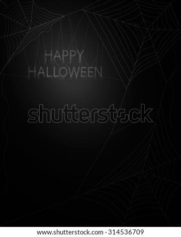 Spider web on dark background - stock vector