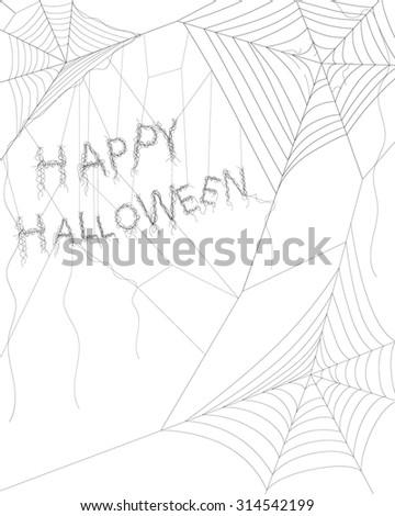 Spider web on white for Halloween - stock vector