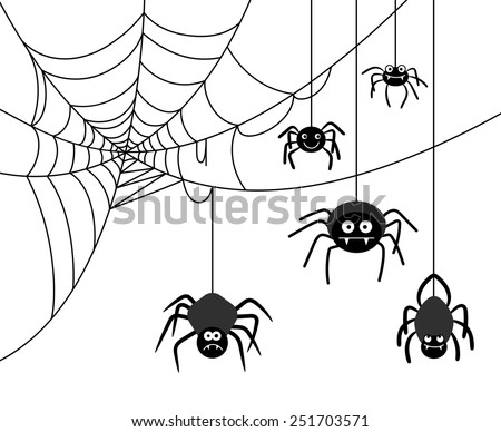 Spiders weave a cobwebs. Dangerous insect, spider webs. Vector illustration - stock vector