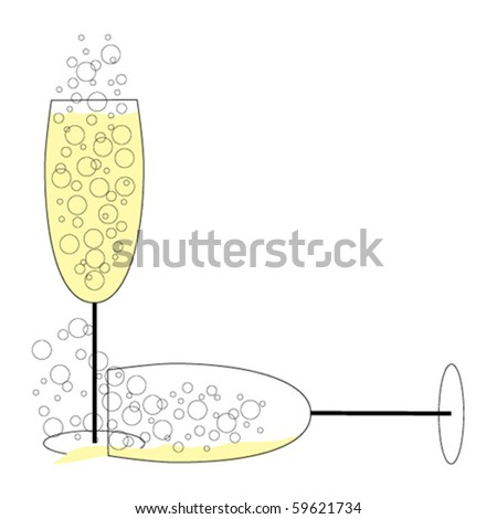 Spilled Champagne - stock vector