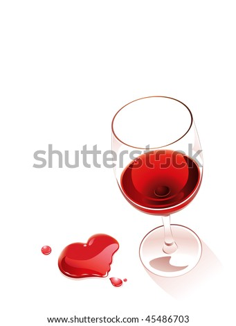 Spilling red whine forming a heart shape - stock vector