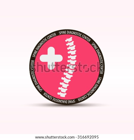Spine diagnostic center round logo or icon in red color art - stock vector